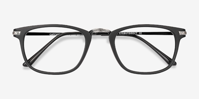 Catcher Black Plastic-metal Eyeglass Frames from EyeBuyDirect, Closed View