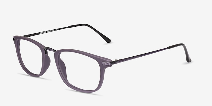 Catcher Purple Metal Eyeglass Frames from EyeBuyDirect, Angle View