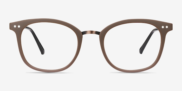 Lyric Brown Plastic Eyeglass Frames from EyeBuyDirect, Front View