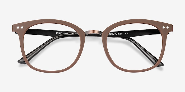 Lyric Brown Plastic Eyeglass Frames from EyeBuyDirect, Closed View