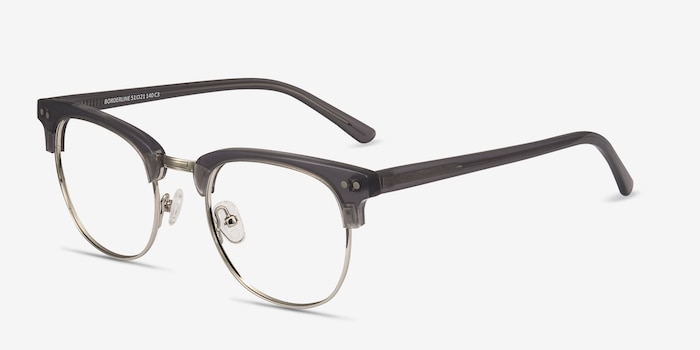 Borderline Gray Metal Eyeglass Frames from EyeBuyDirect, Angle View