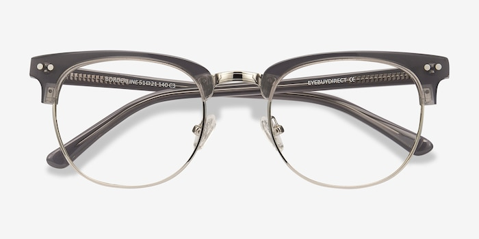 Borderline Gray Metal Eyeglass Frames from EyeBuyDirect, Closed View
