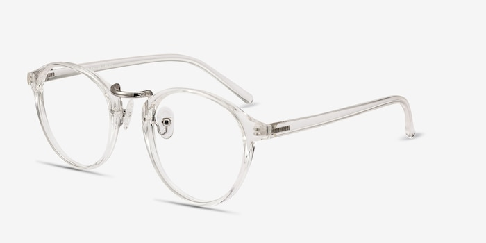 Chillax Clear Metal Eyeglass Frames from EyeBuyDirect, Angle View