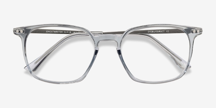 Ghostwriter Clear Blue Plastic Eyeglass Frames from EyeBuyDirect, Closed View