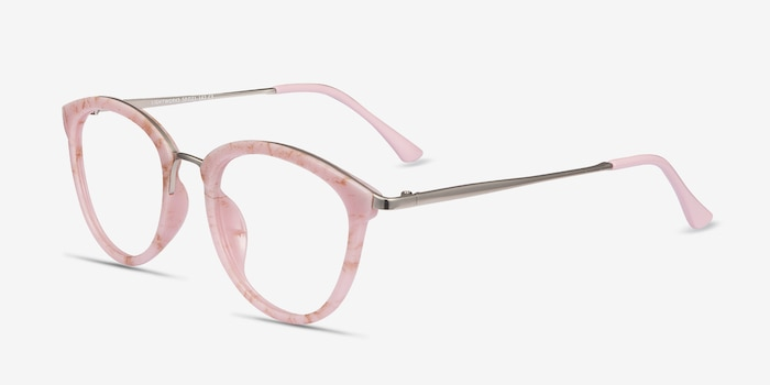 Lightworks Pink Metal Eyeglass Frames from EyeBuyDirect, Angle View