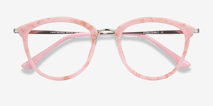 Lightworks Pink Metal Eyeglass Frames from EyeBuyDirect, Closed View