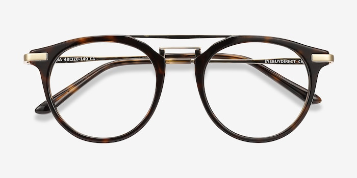 Alba Tortoise Metal Eyeglass Frames from EyeBuyDirect, Closed View