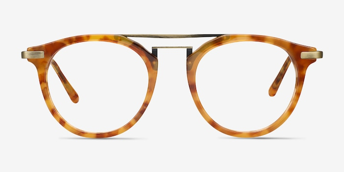 Alba Light Tortoise Acetate-metal Eyeglass Frames from EyeBuyDirect, Front View
