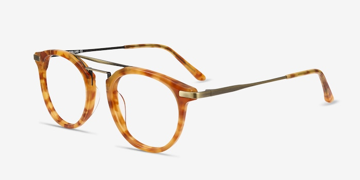 Alba Light Tortoise Metal Eyeglass Frames from EyeBuyDirect, Angle View