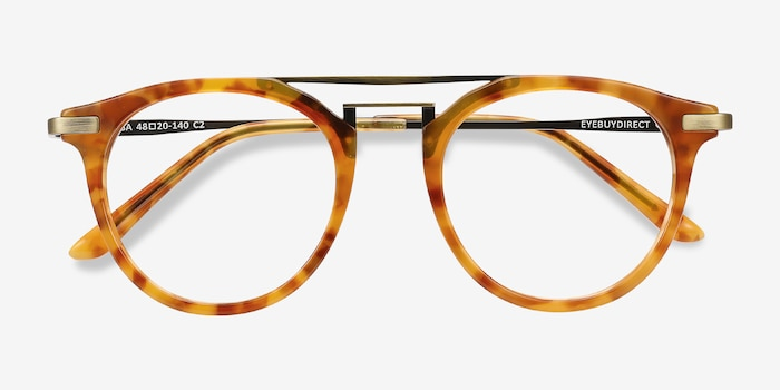 Alba Light Tortoise Acetate-metal Eyeglass Frames from EyeBuyDirect, Closed View