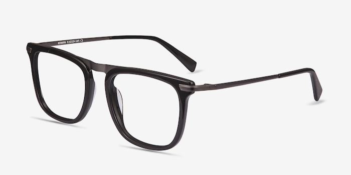 Kompa Black Acetate Eyeglass Frames from EyeBuyDirect, Angle View