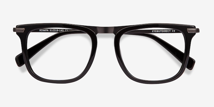 Kompa Black Acetate Eyeglass Frames from EyeBuyDirect, Closed View