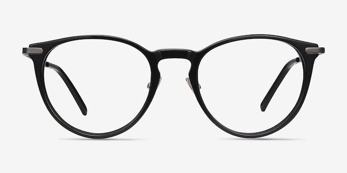 Iris Black Acetate Eyeglass Frames from EyeBuyDirect, Front View