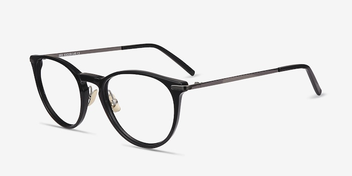 Iris Black Acetate Eyeglass Frames from EyeBuyDirect, Angle View