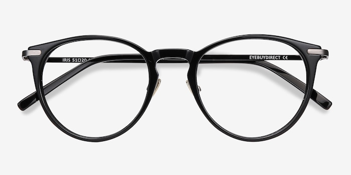 Iris Black Acetate Eyeglass Frames from EyeBuyDirect, Closed View