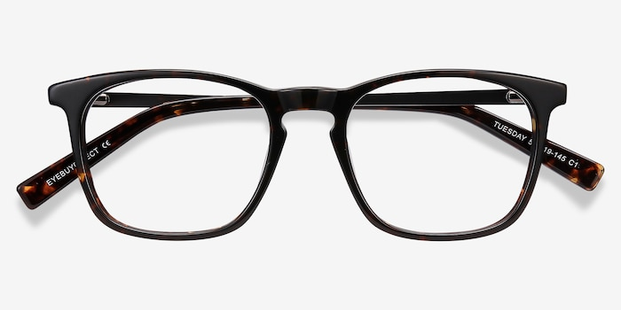 Tuesday Tortoise Metal Eyeglass Frames from EyeBuyDirect, Closed View