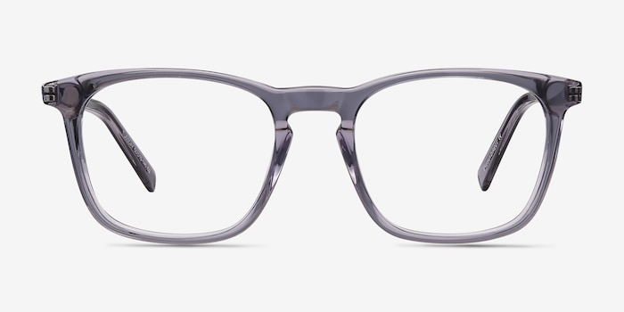 Tuesday Gray Acetate Eyeglass Frames from EyeBuyDirect, Front View