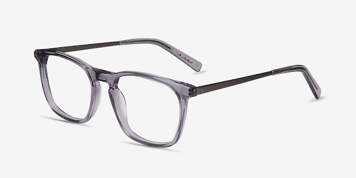 Tuesday Gray Acetate Eyeglass Frames from EyeBuyDirect, Angle View
