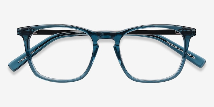 Tuesday Green Acetate Eyeglass Frames from EyeBuyDirect, Closed View