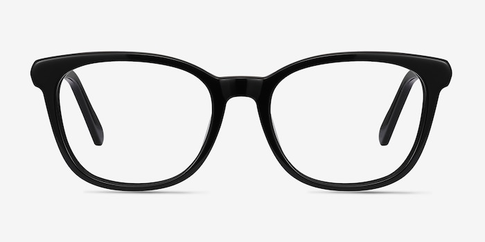 Kat Black Acetate Eyeglass Frames from EyeBuyDirect, Front View
