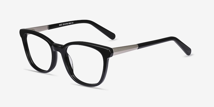 Kat Black Acetate Eyeglass Frames from EyeBuyDirect, Angle View