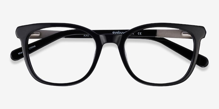 Kat Black Acetate Eyeglass Frames from EyeBuyDirect, Closed View