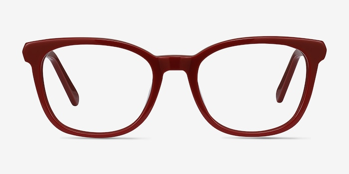 Kat Burgundy Acetate Eyeglass Frames from EyeBuyDirect, Front View