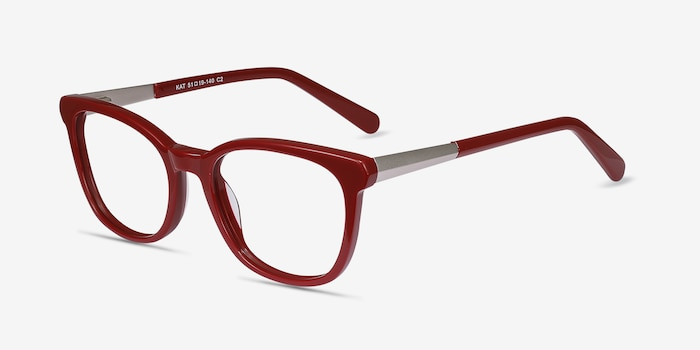 Kat Burgundy Metal Eyeglass Frames from EyeBuyDirect, Angle View