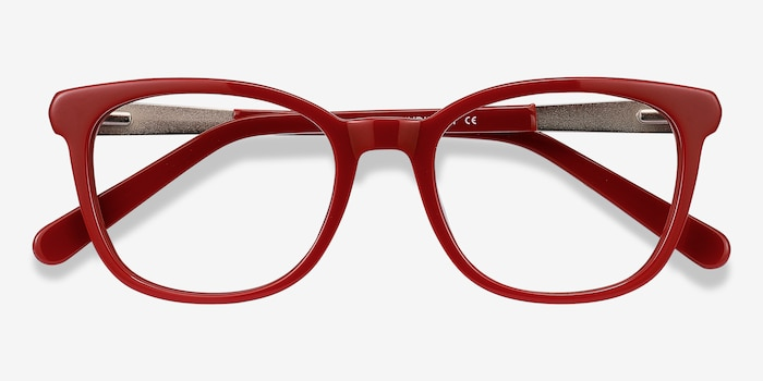 Kat Burgundy Acetate Eyeglass Frames from EyeBuyDirect, Closed View