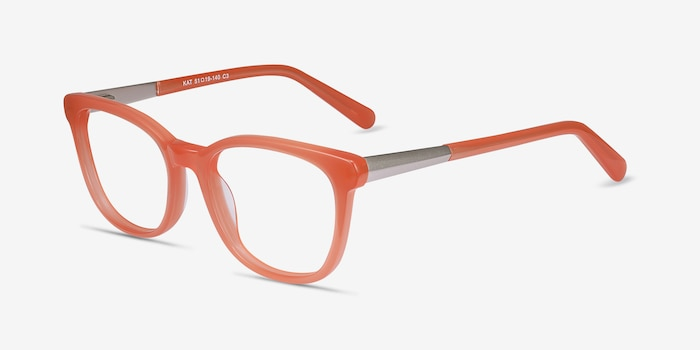 a49e6309c Kat Orange Acetate Eyeglass Frames from EyeBuyDirect, Angle View. Full  screen