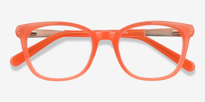Kat Orange Acetate Eyeglass Frames from EyeBuyDirect, Closed View