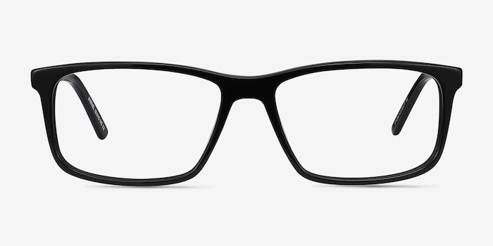 Marvel Black Acetate Eyeglass Frames from EyeBuyDirect, Front View