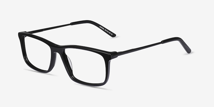 Marvel Black Metal Eyeglass Frames from EyeBuyDirect, Angle View