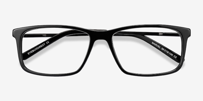 Marvel Black Metal Eyeglass Frames from EyeBuyDirect, Closed View