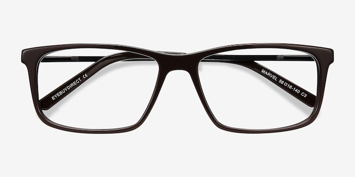 Marvel Brown Metal Eyeglass Frames from EyeBuyDirect, Closed View