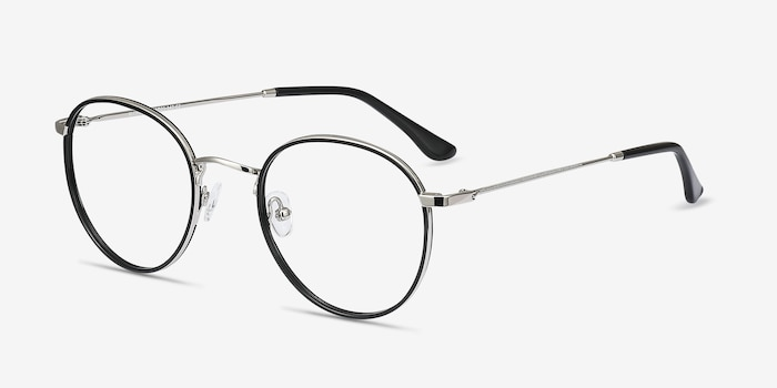 Alchemist Black Acetate Eyeglass Frames from EyeBuyDirect, Angle View