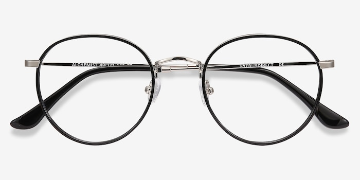 Alchemist Black Acetate Eyeglass Frames from EyeBuyDirect, Closed View