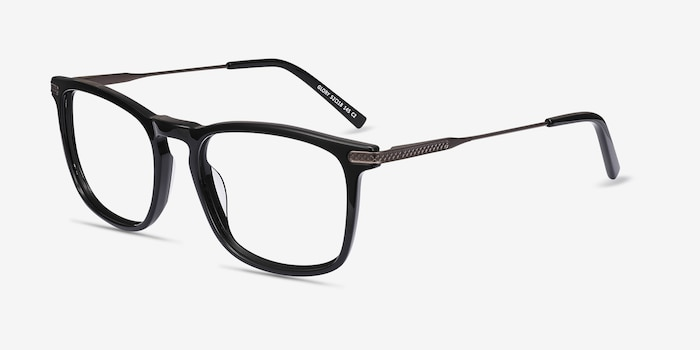 Glory Black Acetate Eyeglass Frames from EyeBuyDirect, Angle View