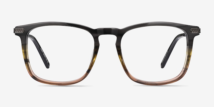 Glory Gray Striped Acetate-metal Eyeglass Frames from EyeBuyDirect, Front View