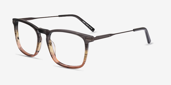 Glory Gray Striped Acetate-metal Eyeglass Frames from EyeBuyDirect, Angle View