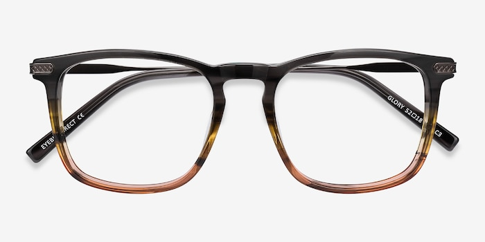 Glory Gray Striped Acetate Eyeglass Frames from EyeBuyDirect, Closed View