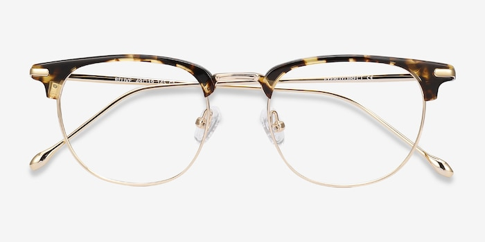 Relive Tortoise Golden Acetate Eyeglass Frames from EyeBuyDirect, Closed View