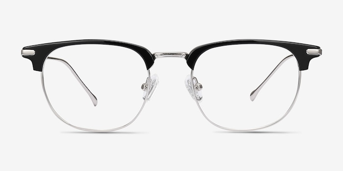 Relive Black Silver Metal Eyeglass Frames from EyeBuyDirect, Front View