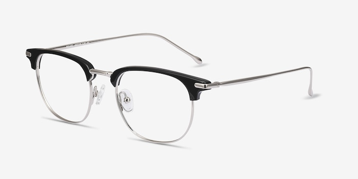 Relive Black Silver Acetate Eyeglass Frames from EyeBuyDirect, Angle View