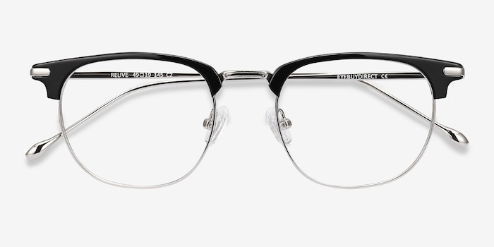 Relive Black Silver Metal Eyeglass Frames from EyeBuyDirect, Closed View