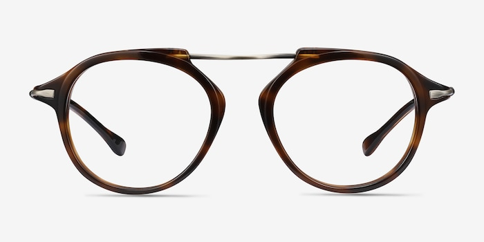 Terminal One Tortoise Bronze Acetate Eyeglass Frames from EyeBuyDirect, Front View
