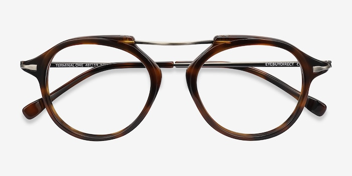 Terminal One Tortoise Bronze Acetate Eyeglass Frames from EyeBuyDirect, Closed View