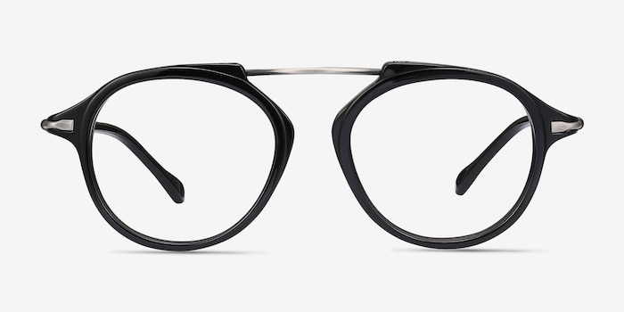 Terminal One Black Gunmetal Acetate Eyeglass Frames from EyeBuyDirect, Front View