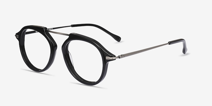 Terminal One Black Gunmetal Metal Eyeglass Frames from EyeBuyDirect, Angle View