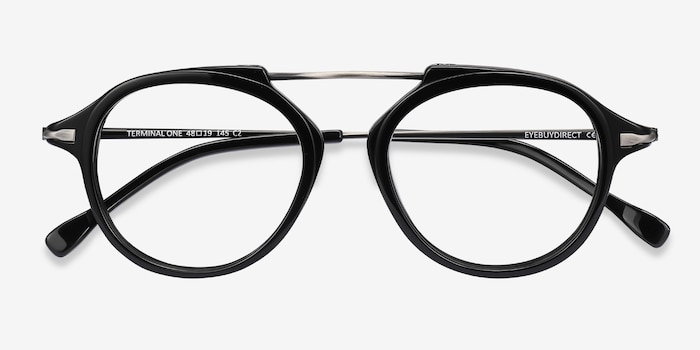 Terminal One Black Gunmetal Acetate Eyeglass Frames from EyeBuyDirect, Closed View